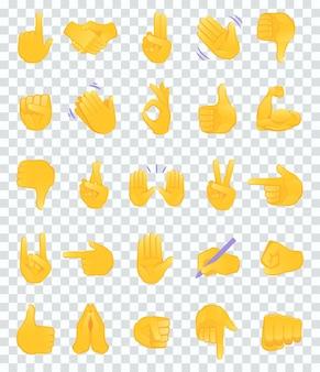 Raccolta di icone di emoji di gesto della mano.