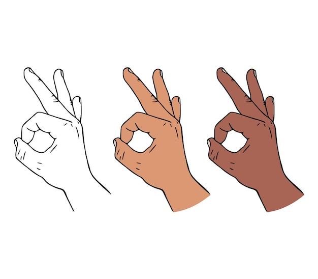 Gesto della mano ok o ok in stile cartone animato.