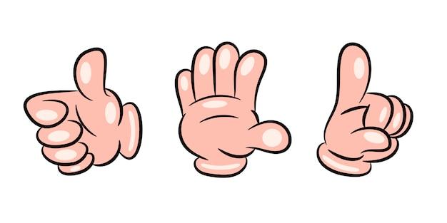Insieme di gesto della mano. palma umana che mostra, che indica e che tiene, prendendo la raccolta del fumetto di vettore isolata