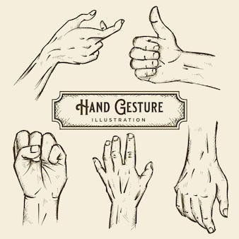 Illustrazione di schizzo del gesto della mano