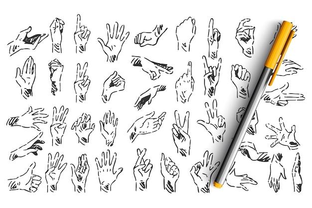 Insieme di doodle di gesti delle mani