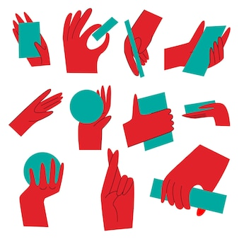 Gesti delle mani. mano con gesti di conteggio, mano con vari oggetti, la mano tiene oggetti in diverse posizioni. mani insolite in uno stile piatto su sfondo bianco. .