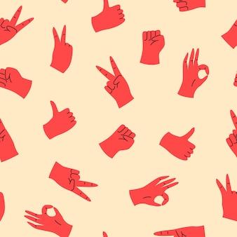 Motivo di gesti delle mani con le dita in stile disegnato a mano
