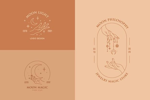 Gesti delle mani insieme di modelli di progettazione di logo in stile lineare minimal