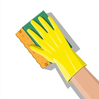 Mano in guanti con spugna lavaggio a parete