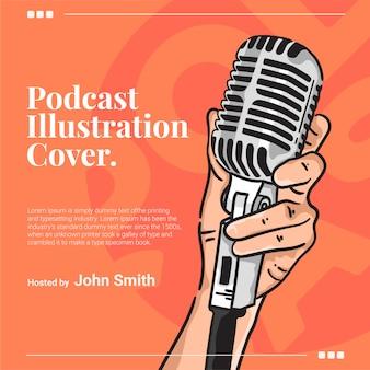 La mano afferra l'illustrazione della copertura del podcast del microfono