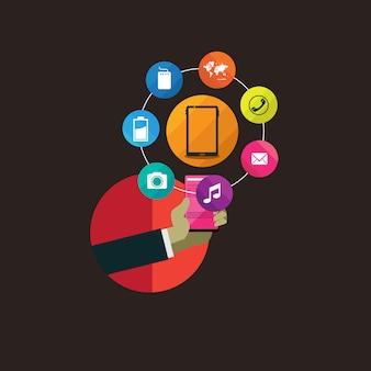 Maneggiare la tecnologia moderna con design piatto