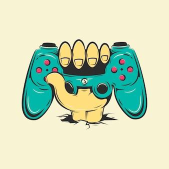 Gamepad tenuto in mano per l'illustrazione del fumetto dei videogiochi