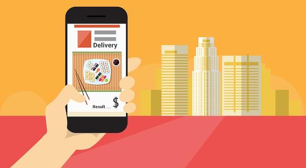 Illustrazione piana di vettore dell'insegna online di consegna dell'alimento di applicazione dello smart phone delle cellule della tenuta della mano