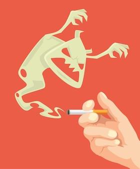 Sigaretta della stretta della mano. attacchi di mostri di sigarette.