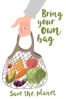 Tenere in mano la borsa ecologica le persone portano la propria borsa per la spesa zero prodotti di scarto per lo shopping concetto vettoriale eco borsa shopper illustrazione vettoriale ecologico verde organico