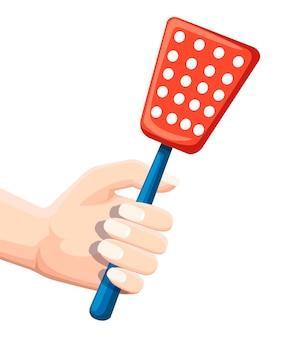 Mano tenere scacciamosche. strumento per la distruzione degli insetti a casa. swatter rosso con manico blu. illustrazione piatta isolati su sfondo bianco.