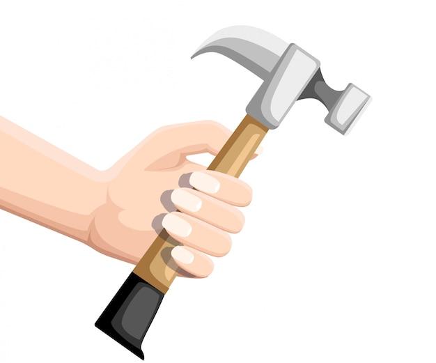 Mano tenere martello. martello da carpentiere in stile piatto. tipico strumento manuale. manico in legno. strumento di costruzione. illustrazione piatta isolati su sfondo bianco.