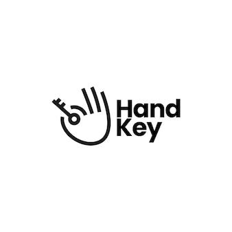 Modello di logo della chiave della stretta della mano