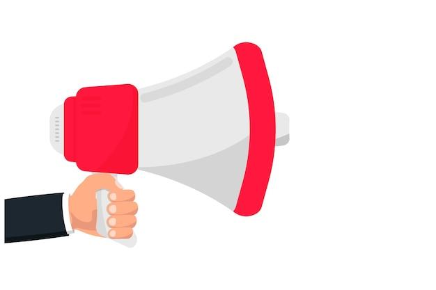 Tenere in mano il megafono con spazio di copia megafono altoparlante altoparlante avviso altoparlante