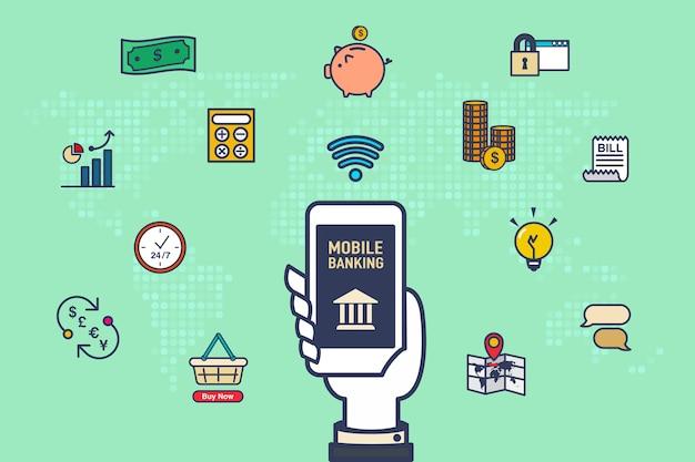 Mano in mano mobile con icone di attività bancaria con mappa del mondo su sfondo verde, concetto di internet banking