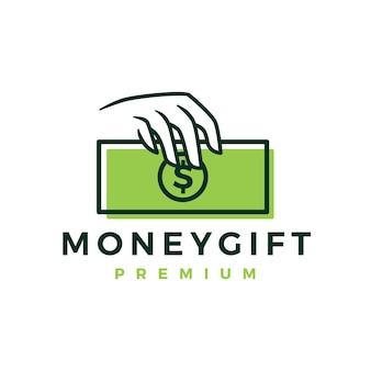Modello di logo del regalo dei soldi della stretta della mano