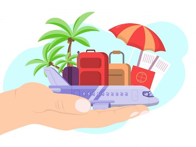 Passi il bagaglio ed i bagagli del passaporto dell'aeroplano di viaggio della tenuta su bianco, illustrazione. vacanza di viaggio di concetto.
