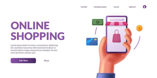 Mano che tiene in mano uno smartphone mobile carino 3d con l'e-commerce dell'app del negozio. concetto di illustrazione dello shopping online con icona 3d.