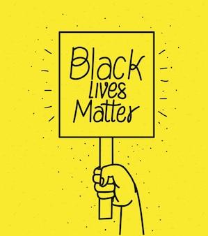 Mano che tiene la bandiera nera materia di vite