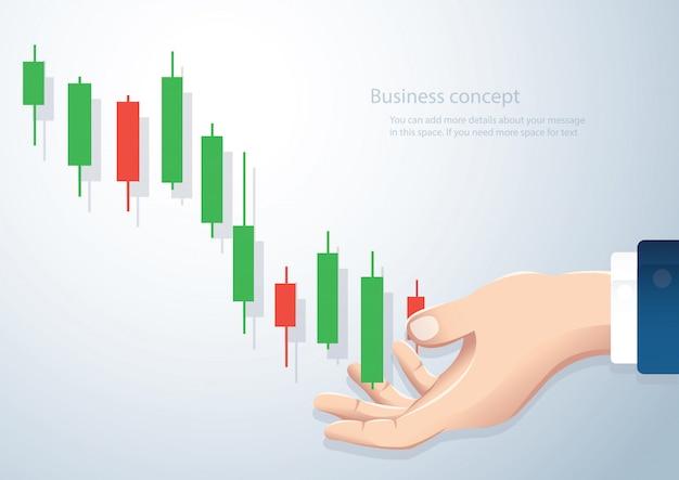 Passi la tenuta del fondo di vettore del mercato azionario del grafico del candeliere