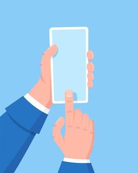 Mano che tiene il telefono cellulare, un dito fa clic sullo schermo. utilizzando il telefono cellulare intelligente. concetto di design piatto.