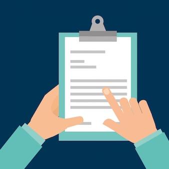 Relazione medica della lavagna per appunti della tenuta della mano