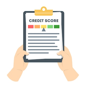 Mano che tiene appunti con la storia del credito su di esso. valutazione e punteggio di credito sul documento. controllo dei dati finanziari. illustrazione vettoriale piatto isolato