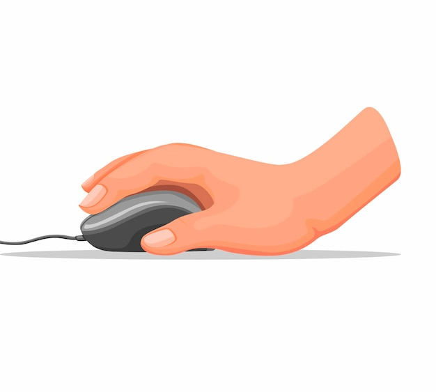 Mano che tiene il mouse del computer in ufficio oa casa in cartoon illustrazione su sfondo bianco