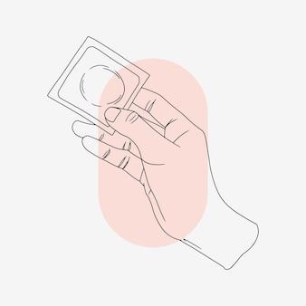 Preservativo della tenuta della mano per la giornata mondiale della salute sessuale in stile art line 1 Vettore Premium