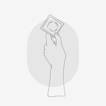 Preservativo della tenuta della mano per la giornata mondiale della salute sessuale in stile art line