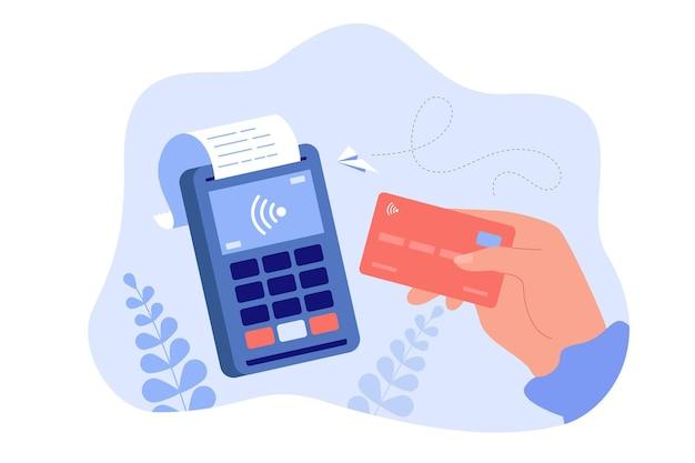 Mano che tiene la carta di debito o di credito per l'illustrazione piana di pagamento