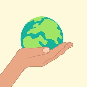 Illustrazione piana di vettore del simbolo dell'icona del globo terrestre della tenuta della mano