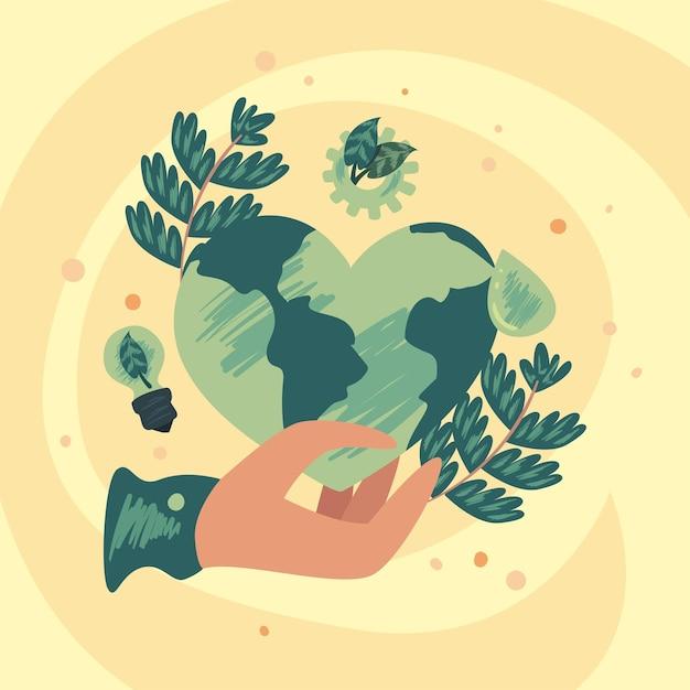 Mano che tiene il cuore della terra ecologica con foglie