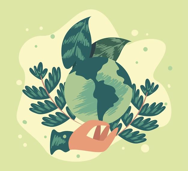 Mano che tiene la terra ecologica con foglie su sfondo verde