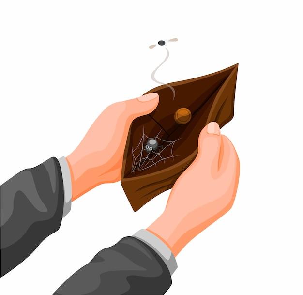 Mano che tiene il portafoglio vuoto con moneta e ragno web all'interno. problema finanziario nel vettore dell'illustrazione del fumetto