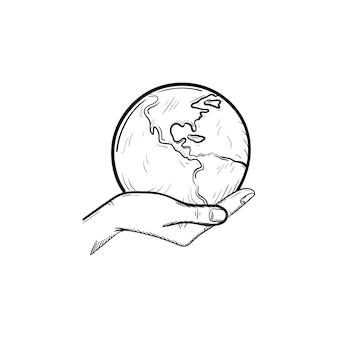 Mano che tiene l'icona di doodle di contorni disegnati a mano del globo. cura dell'ecologia e concetto ecologico. palma con illustrazione di schizzo vettoriale mondo per stampa, mobile e infografica isolato su sfondo bianco