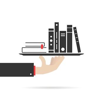 Mano che tiene un gruppo di libri sul piatto. concetto di informazioni, bibliografia, app mobile bestseller, brochure, editor, hobby, ricerca. stile piatto tendenza design moderno illustrazione vettoriale su sfondo blu