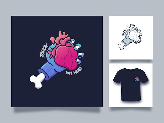 Mano che tiene l'illustrazione del concetto di cuore per l'abbigliamento e il design della maglietta