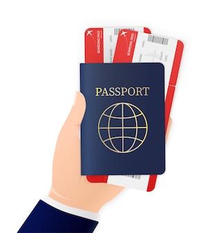 Mano, che tiene passaporto internazionale e biglietti aerei su sfondo bianco. icona illustrazione. icona . documento di identità.