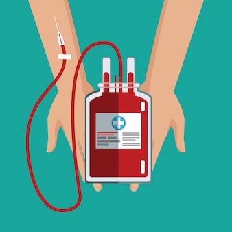 Mano che tiene cura del sangue del sacchetto iv Vettore Premium