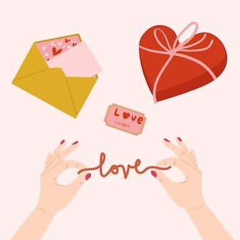 Mano che tiene il segno di amore
