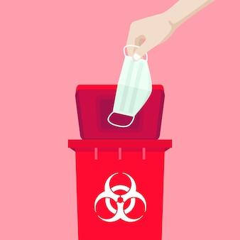 La mano che tiene una maschera è sopra il bidone rosso, con il simbolo dei rifiuti infettivi.