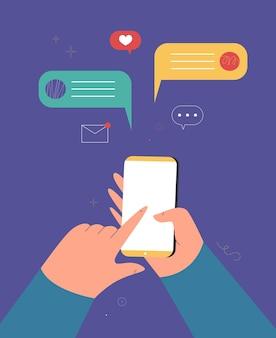 Mano che tiene il concetto di telefono cellulare smartphone con messaggio vector flat cartoon illustration