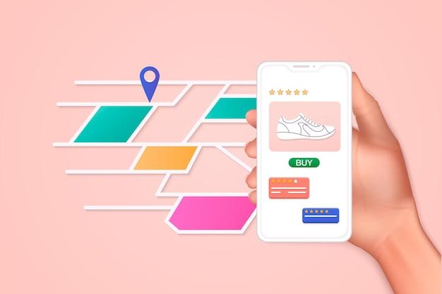 Mano che tiene l'app per smartphone mobile con la traccia visualizzata con il percorso. illustrazione di concetto di monitoraggio percorso fitness vettoriale. illustrazioni vettoriali 3d.