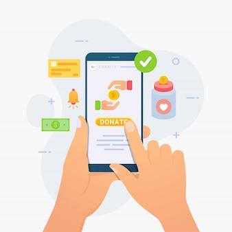 Smart phone mobile della tenuta della mano per dare donazione