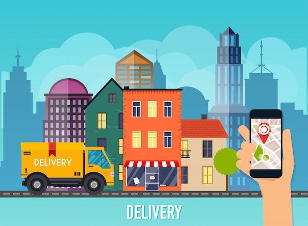 Mano che tiene il cellulare smart phone con monitoraggio della consegna delle app. grafica moderna di informazioni creative sull'applicazione.