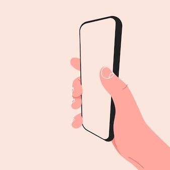 Mano che tiene lo smartphone mobile con il modello moderno dello schermo in bianco