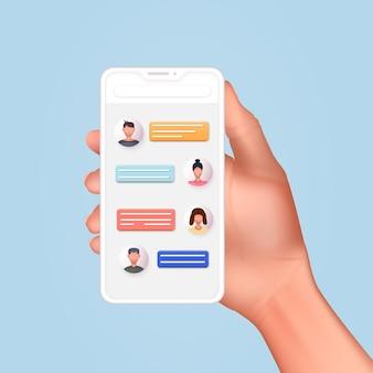 Mano che tiene lo smartphone mobile con l'app di posta concetto di servizio di posta