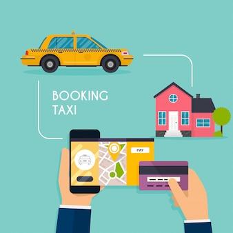 Mano che tiene il cellulare smart phone con taxi ricerca app mobile